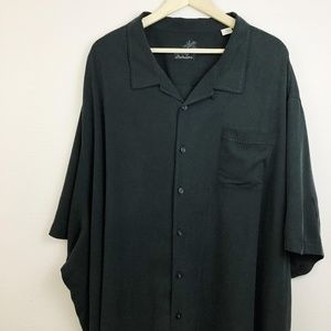Tommy Bahama 100% Washable Silk Black Button-Down